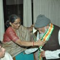 Smt Rama Rauta felicitating Prof GD Agarwal, at Gandhi Darsan, Rajghat on 12th March, 2010 at SGM meeting