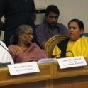 Sushree Uma Bharti, Hon'ble Minister, Water Resource; Smt Rama Rauta, SGM; HH Acharya Lokeh Muni at SGM meeting, Gandhi Darsan, New Delhi on 12th March 2015
